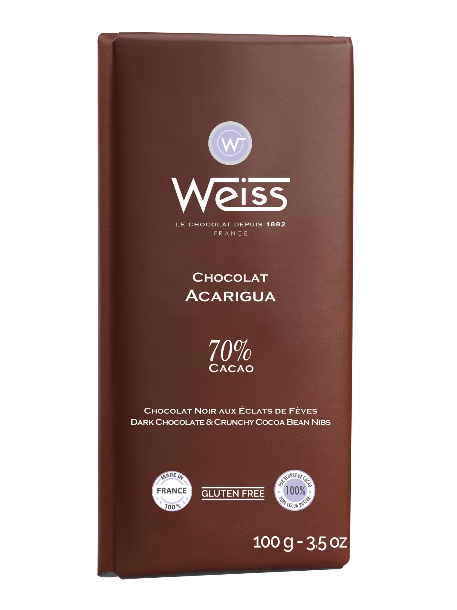 Tablette Acarigua chocolat noir et éclats de fèves 70% de cacao, Weiss (100 g)