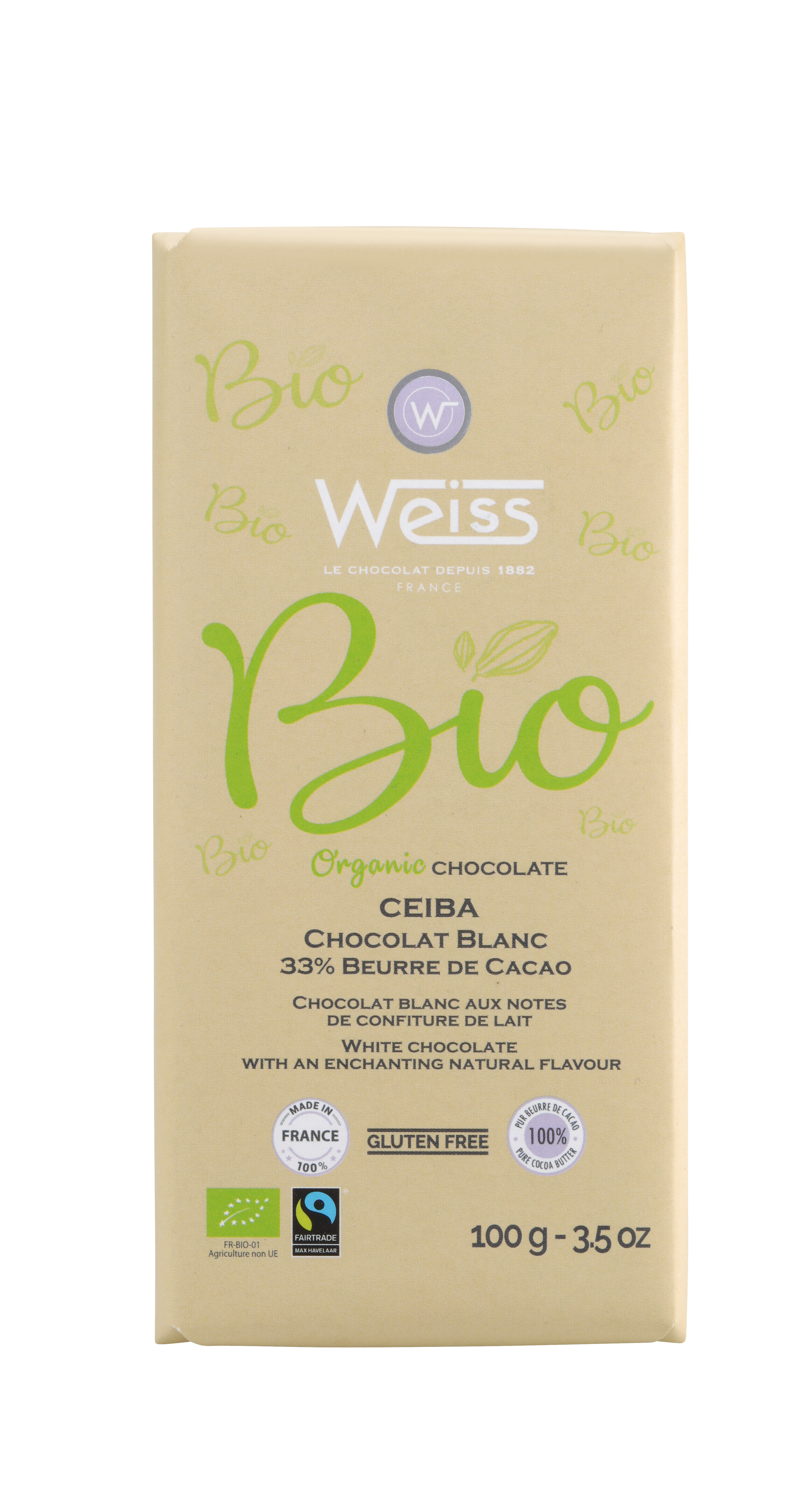 Tablette Ceiba BIO chocolat blanc 33% de cacao, Weiss (100 g)