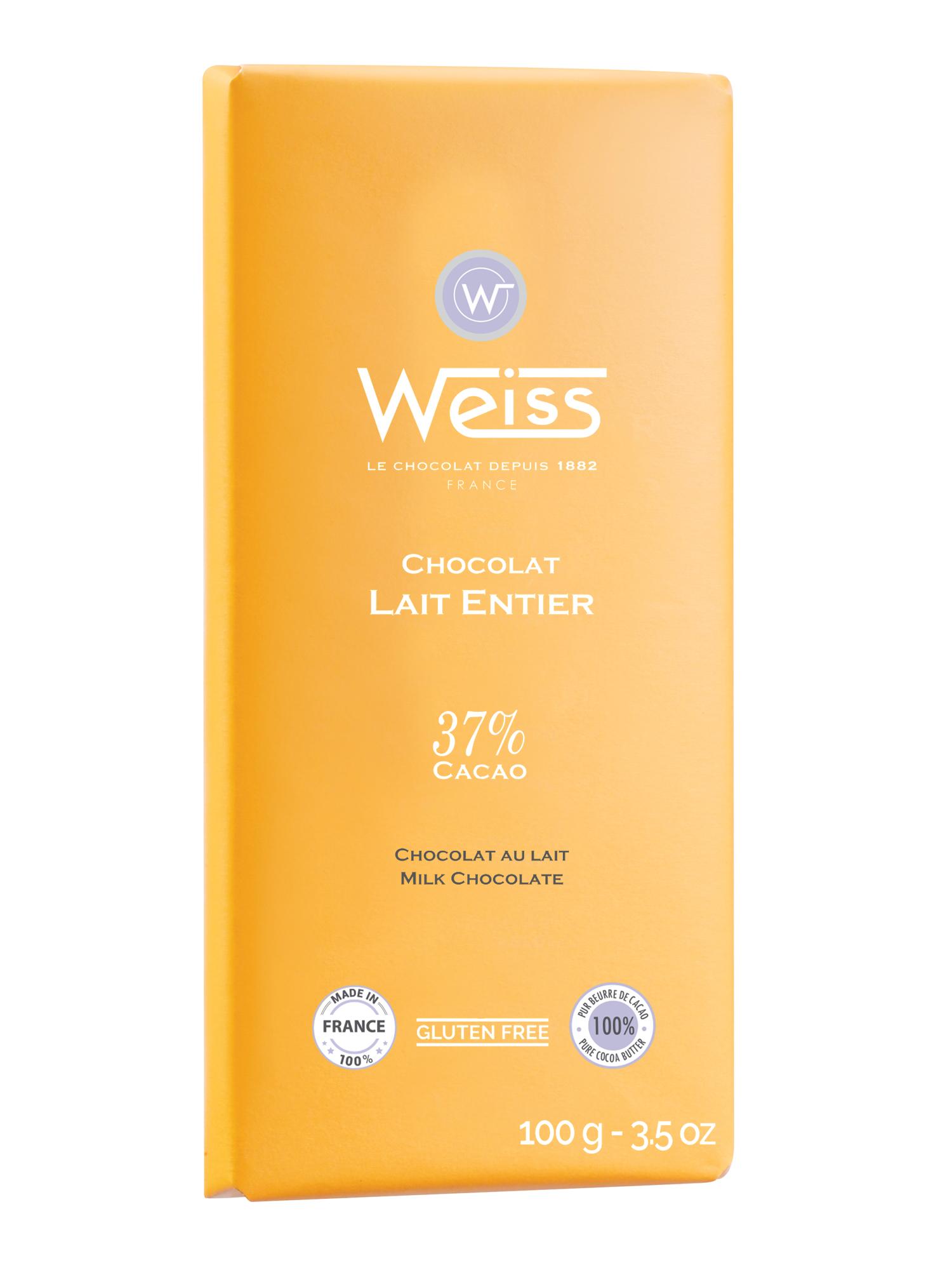 Tablette chocolat au lait entier 37% de cacao, Weiss (100 g)