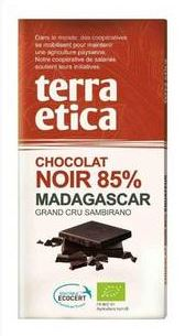 Tablette chocolat noir 85% de cacao madagascar BIO, Terra Etica (100 g)