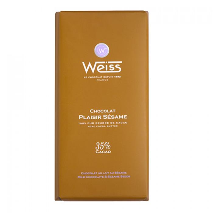 Tablette chocolat Plaisir lait sésame 35% de cacao, Weiss (100 g)