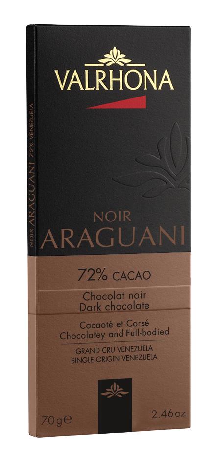 Tablette de chocolat noir Araguani 72%, Valrhona (70 g)