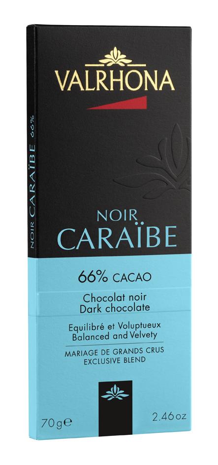 Tablette de chocolat noir Caraïbe 66%, Valrhona (70 g)