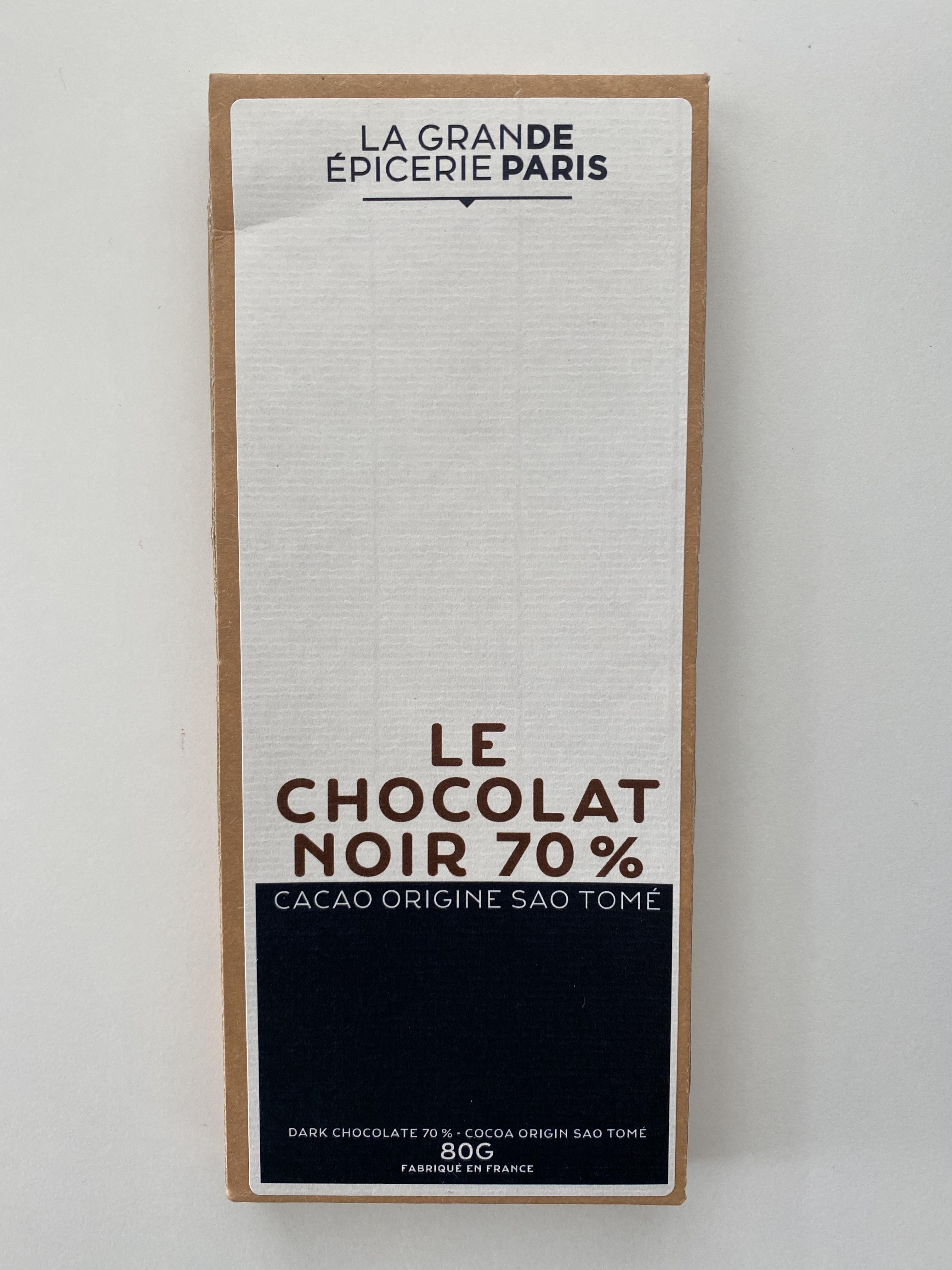 Tablette de chocolat noir 70% pure origine Sao Tomé, La Grande Epicerie de Paris (80 g)