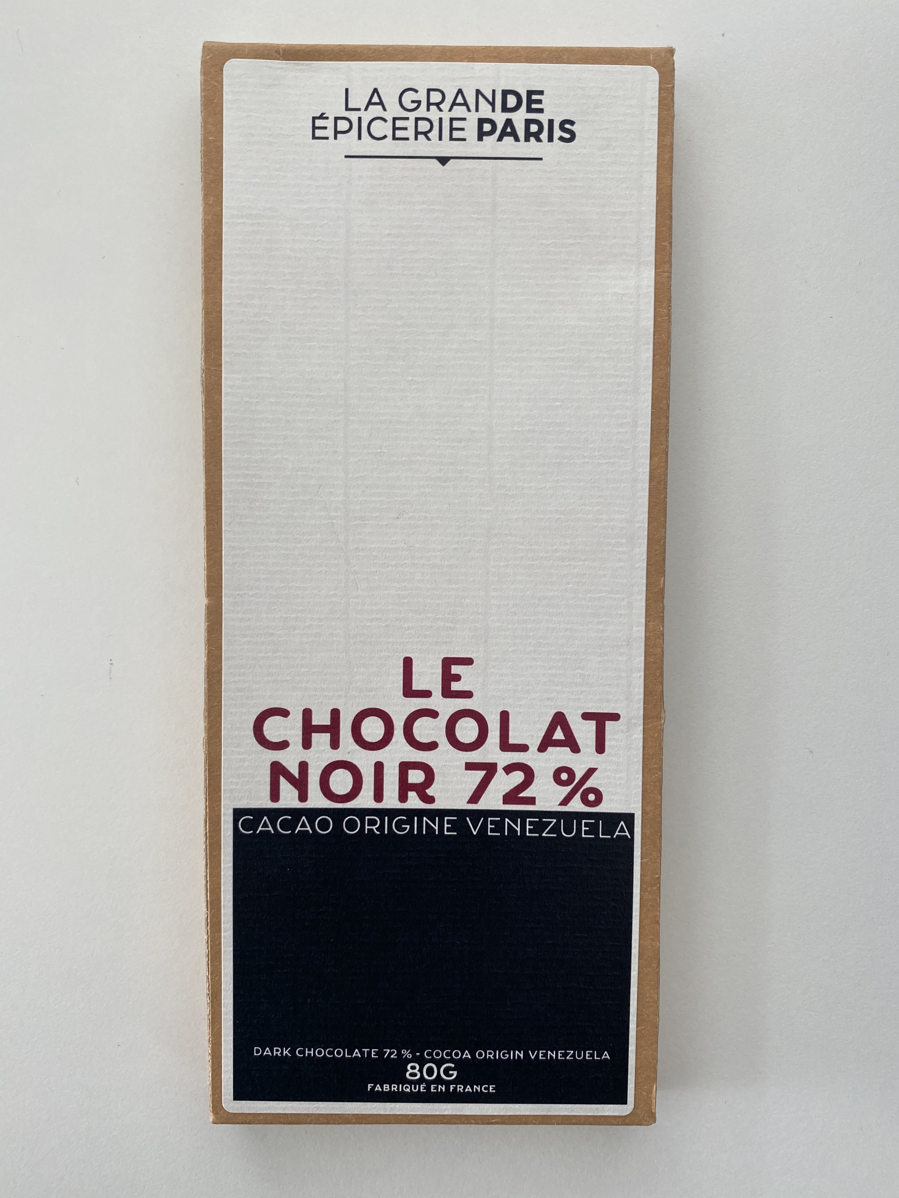 Tablette de chocolat noir 72% pure origine Venezuela, La Grande Epicerie de Paris (80 g)