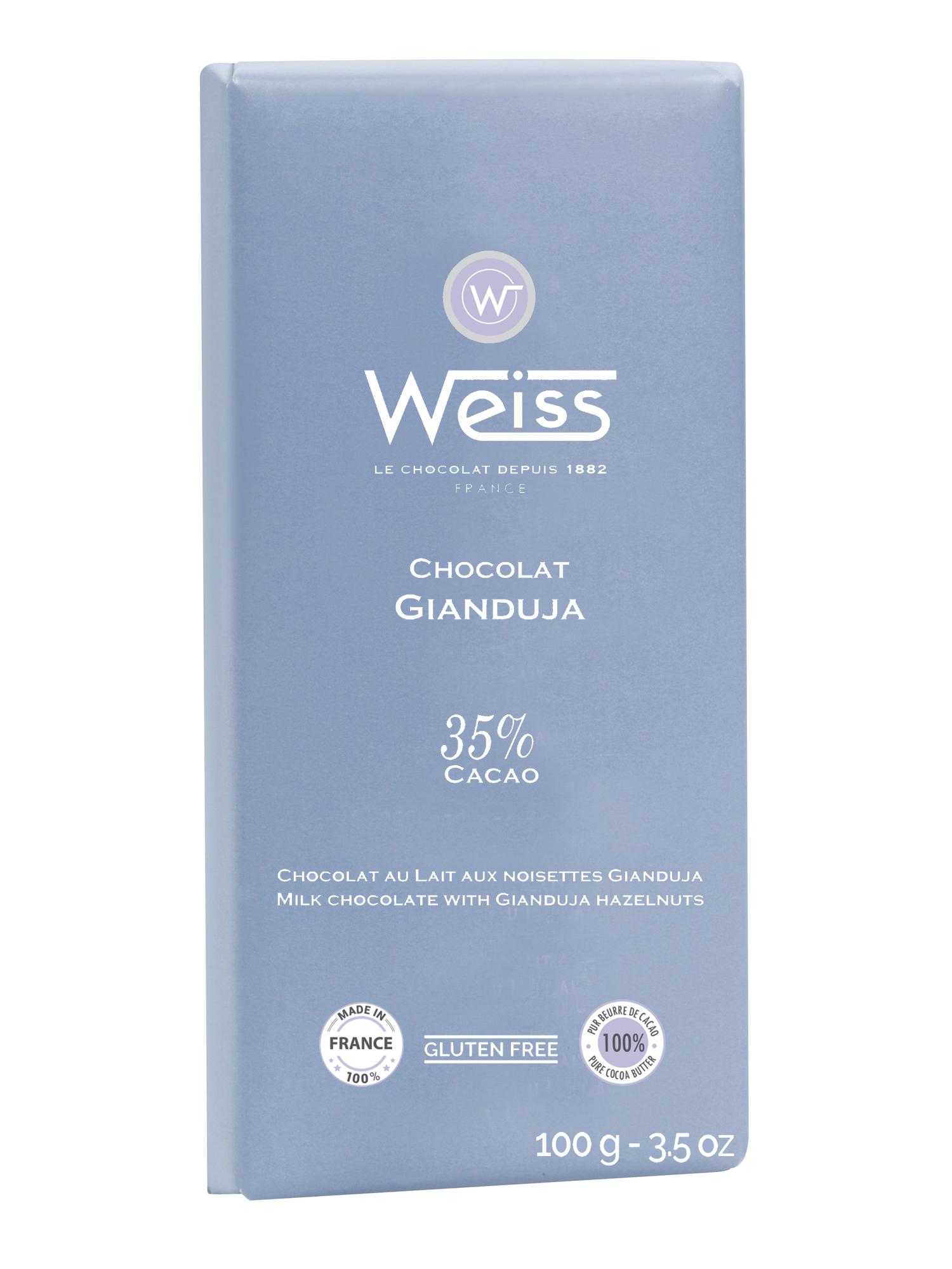 Tablette Gianduja chocolat au lait et noisettes 35% de cacao, Weiss (100 g)