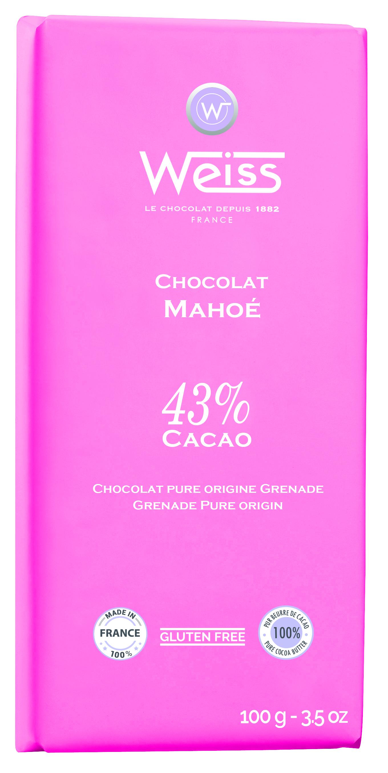 Tablette Mahoé chocolat au lait 43% de cacao, Weiss (100 g)