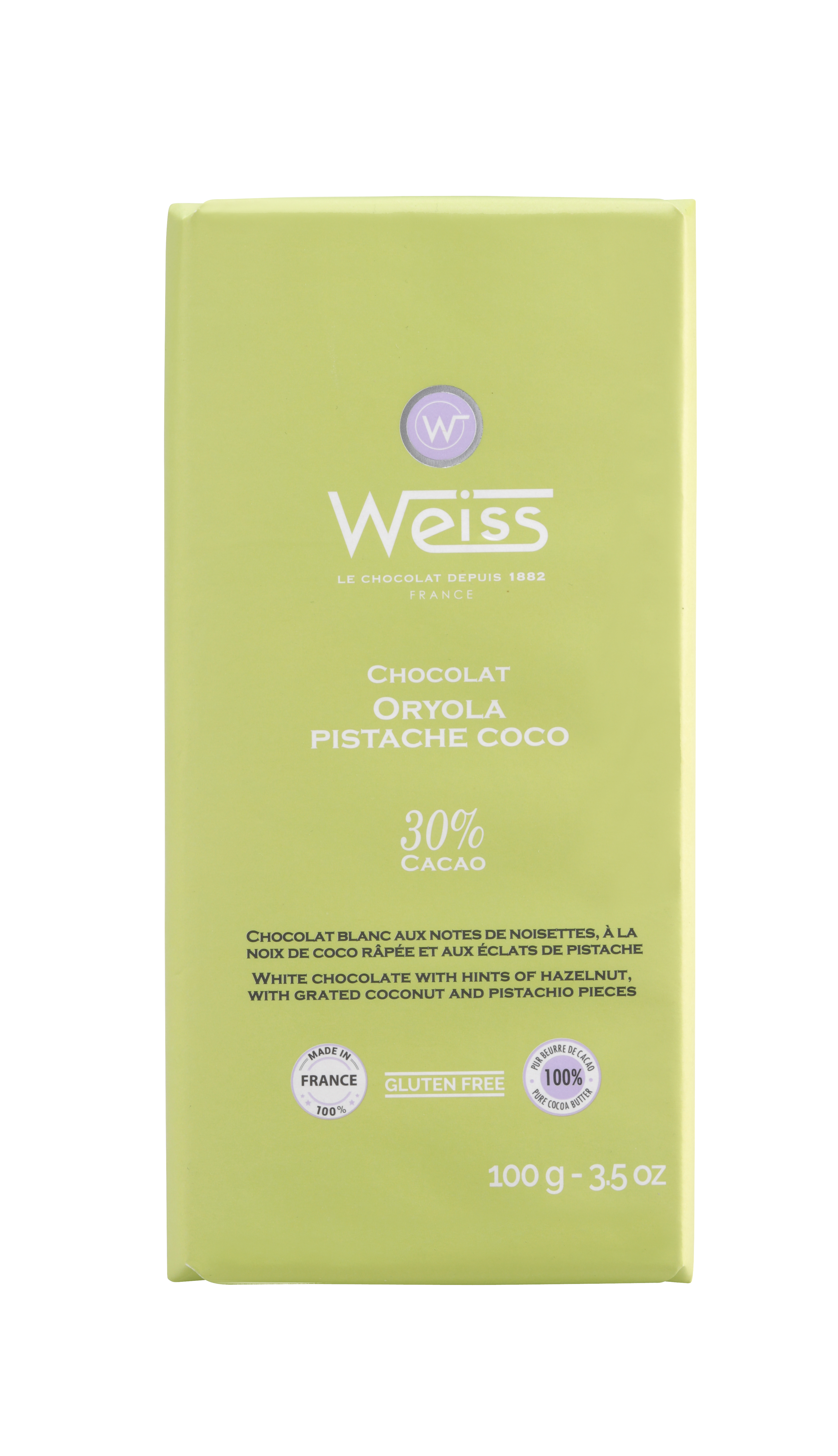 Tablette Oryola chocolat blanc pistache coco 30% de cacao, Weiss (100 g)