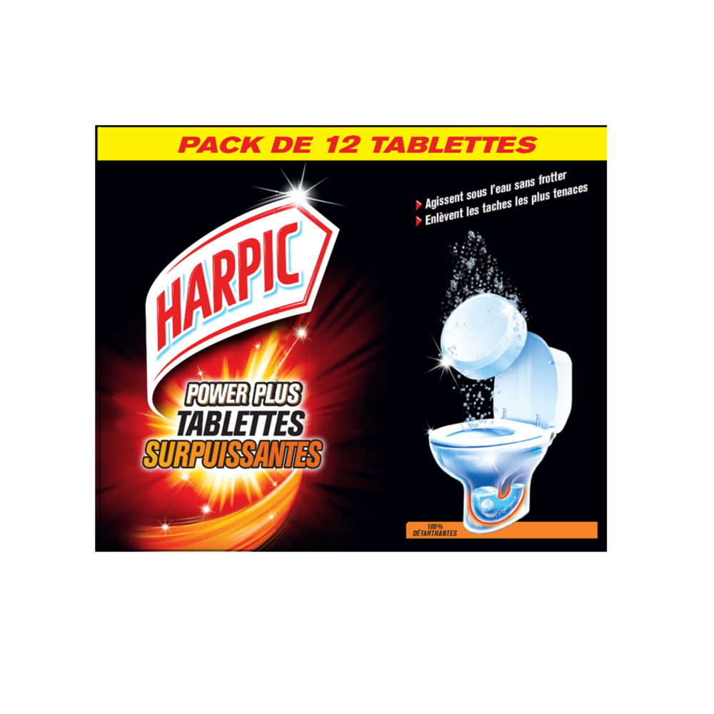 Tablettes WC surpuissantes power plus 100% détartrantes, Harpic (x 12)