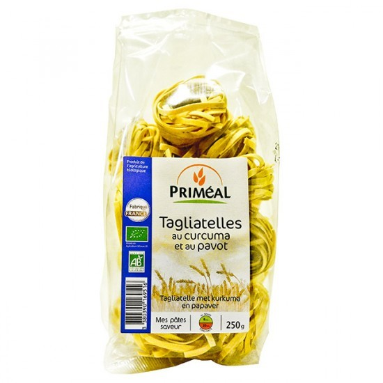 Tagliatelles au curcuma et pavot BIO, Priméal (250 g)