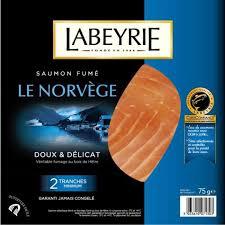 Saumon fumé Atlantique Norvège, Labeyrie (2 tranches, 75 g)