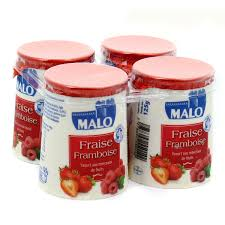 Yaourt fraise & framboise, Malo (4 x 125 g)