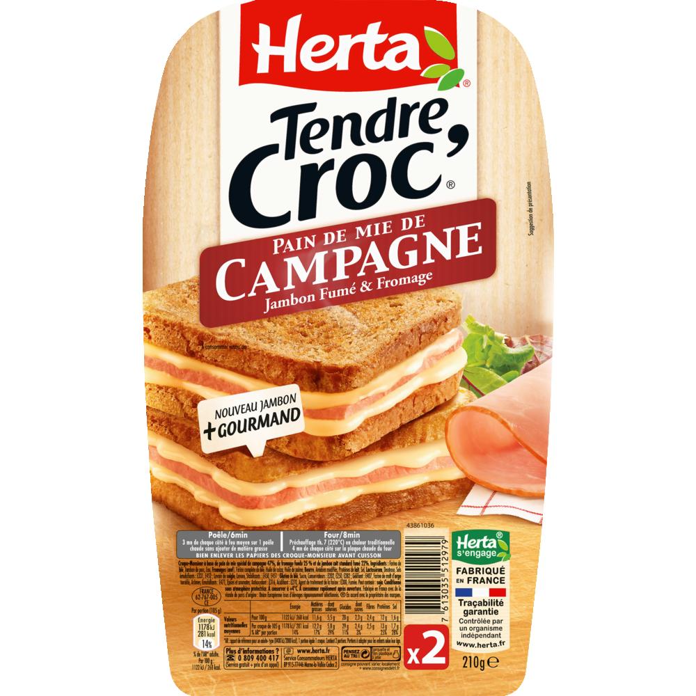 Croque Monsieur Tendre croc' au pain de campagne, Herta (x 2, 210 g)