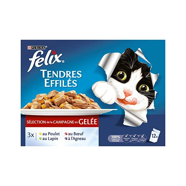Tendres effilés sélection de la campagne en gelée, Felix (12 x 100 g)