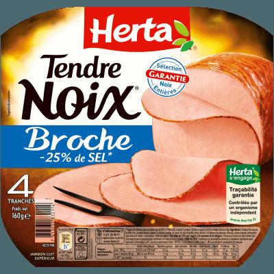 Jambon tendre noix à la broche - 25% Sel, Herta (4 tranches, 160 g)