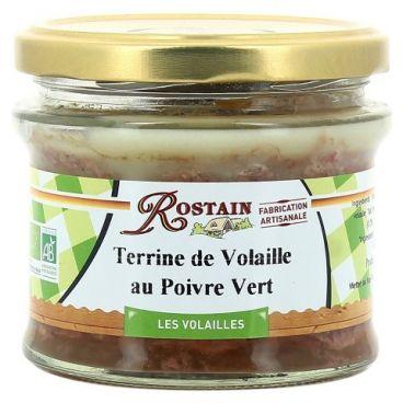 Terrine de volaille au poivre vert BIO, Rostain (180 g)