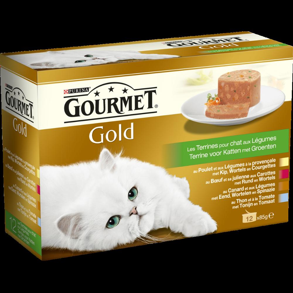 Terrines Gourmet Gold pour chat adulte au poulet, boeuf et légumes, Purina (12 x 85 g)