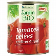 Tomates entières pelées au jus BIO, Jardin Bio (400 g)