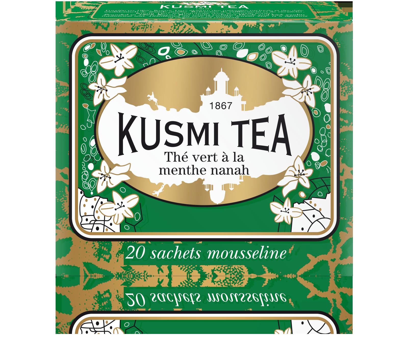 Thé vert à la menthe étui sachets mousseline, Kusmi Tea (x 20, 44 g)