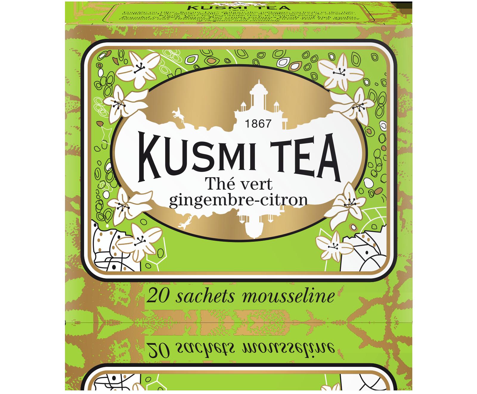 Thé vert gingembre-citron étui sachets mousseline, Kusmi Tea (x 20, 44 g)