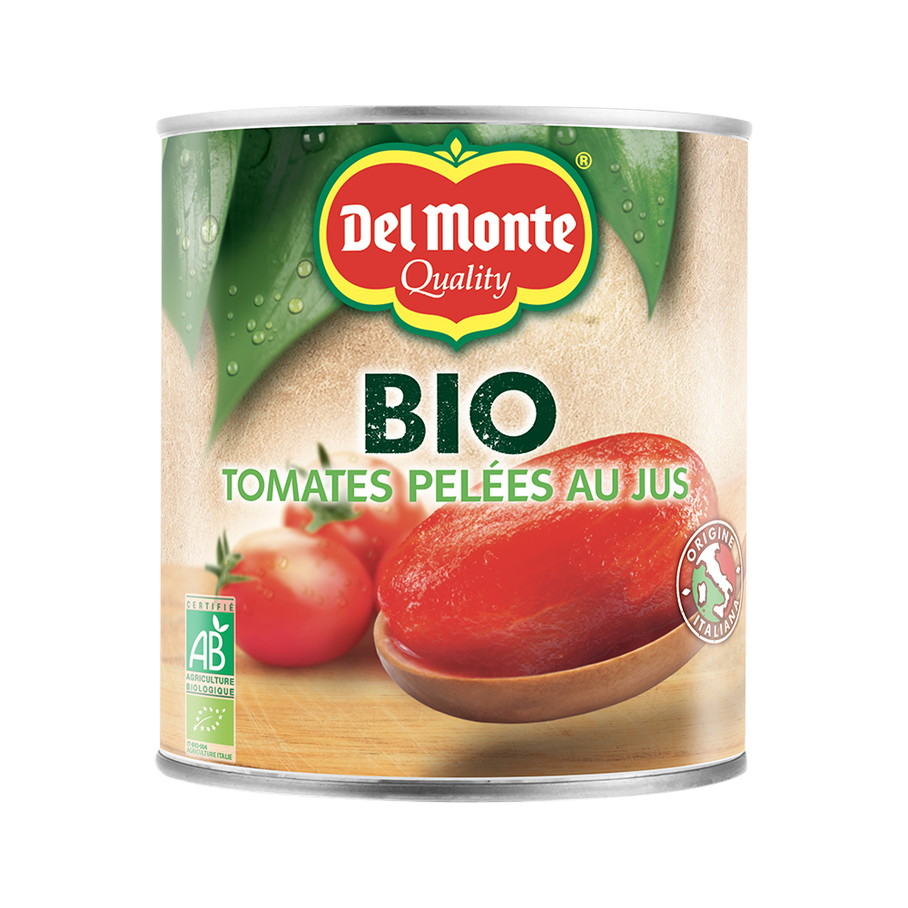 Tomates pelées au jus BIO, Del Monte (850 g)