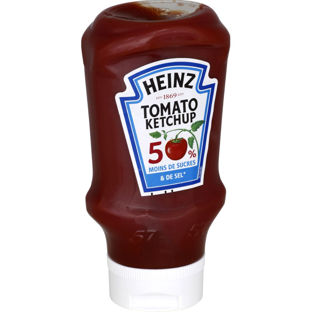 Ketchup Top Down en flacon souple -50% sel & sucre, Heinz (435 g)