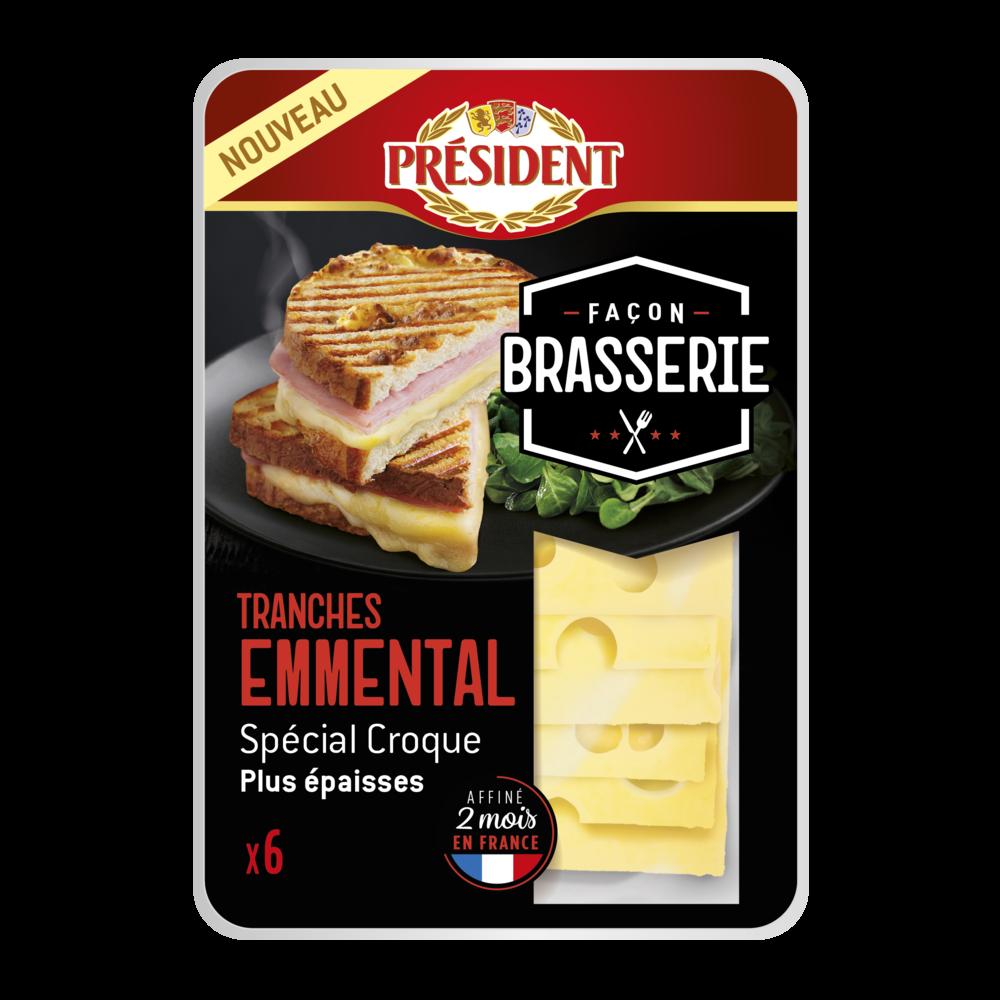 Emmental en tranches façon Brasserie, Président (6 tranches, 180 g)