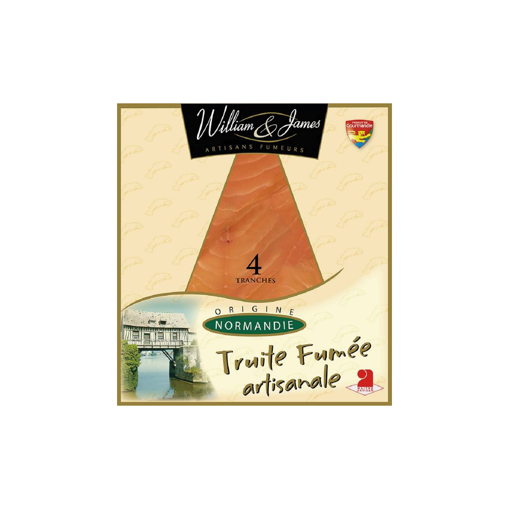 Truite fumée artisanale, William et James (4 tranches, 100 g)