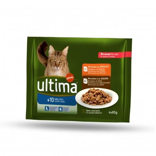 Pâtée en sachets dinde poulet pour chat + de 10 ans, Ultima (4 x 85 g)