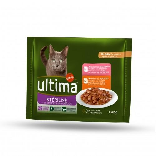 Pâtée en sachets saumon poulet pour chat stérilisé, Ultima (4 x 85 g)
