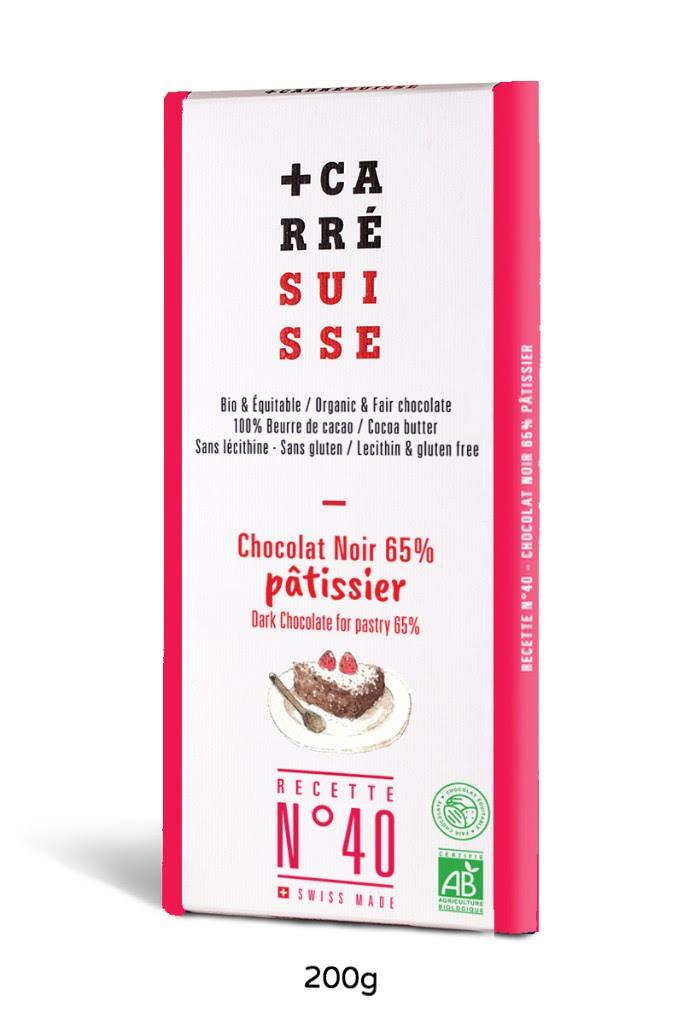 Chocolat Noir Pâtisssier 65% BIO et équitable, Carré Suisse (200 g)