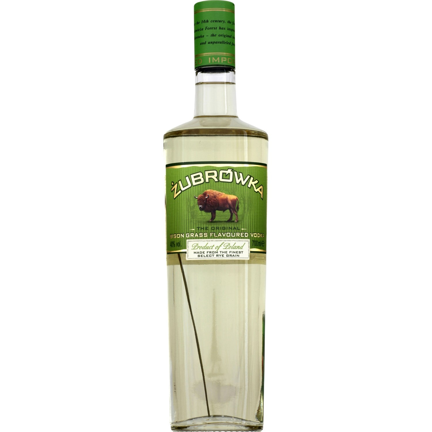 Vodka Zubrowka à l'herbe de Bison (70 cl)