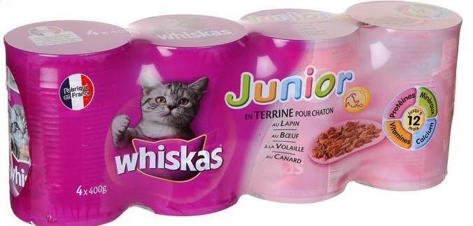 Pâtée canard/ agneau/ boeuf/ volaille pour chaton, Whiskas Junior (4 x 400 g)