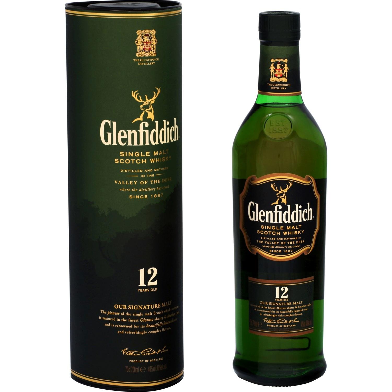 Whisky Glenfiddich 12 ans d'âge 40° avec étui (70 cl)