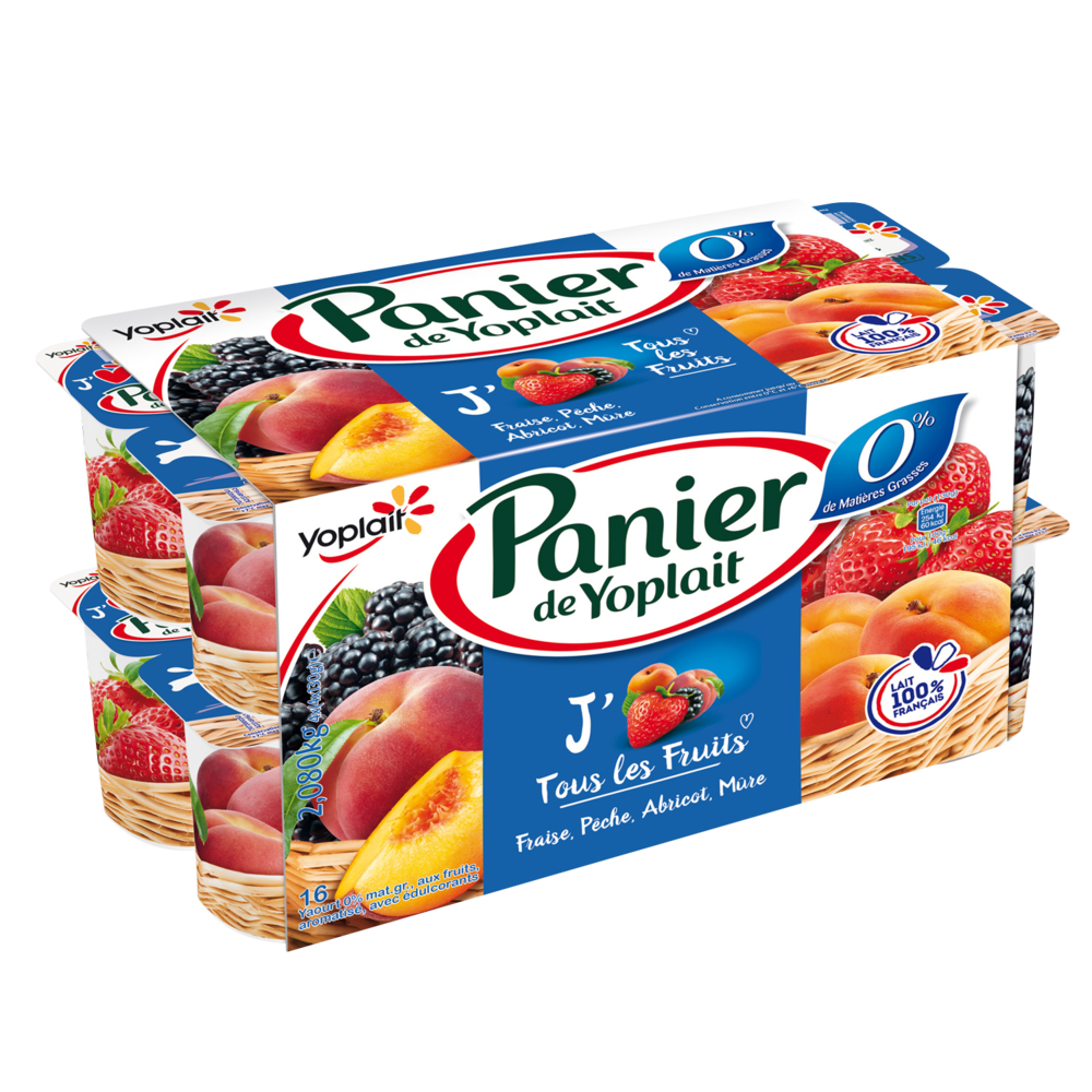 Yaourt aux fruits 0% MG, Panier de Yoplait (16 x 130 g)