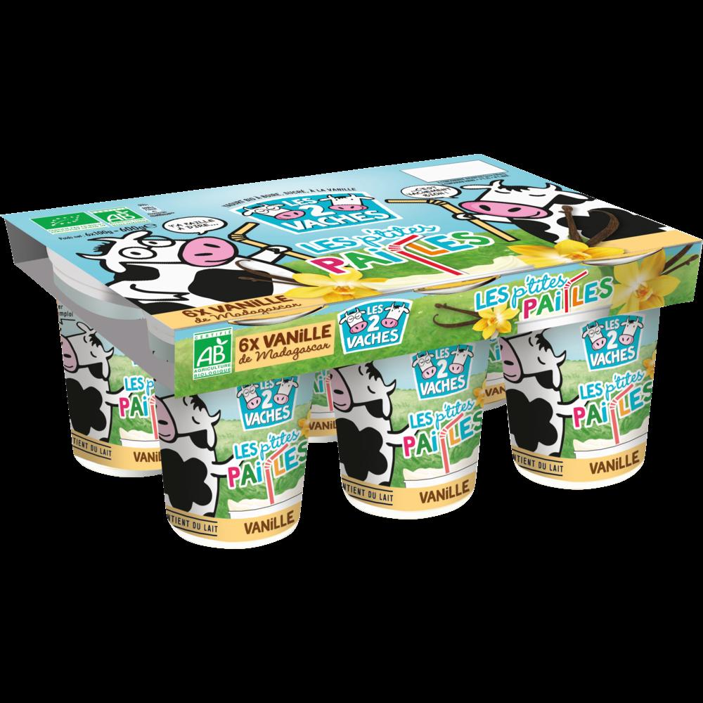 Yaourt à boire BIO à la vanille, Les 2 Vaches (6 x 100 g)