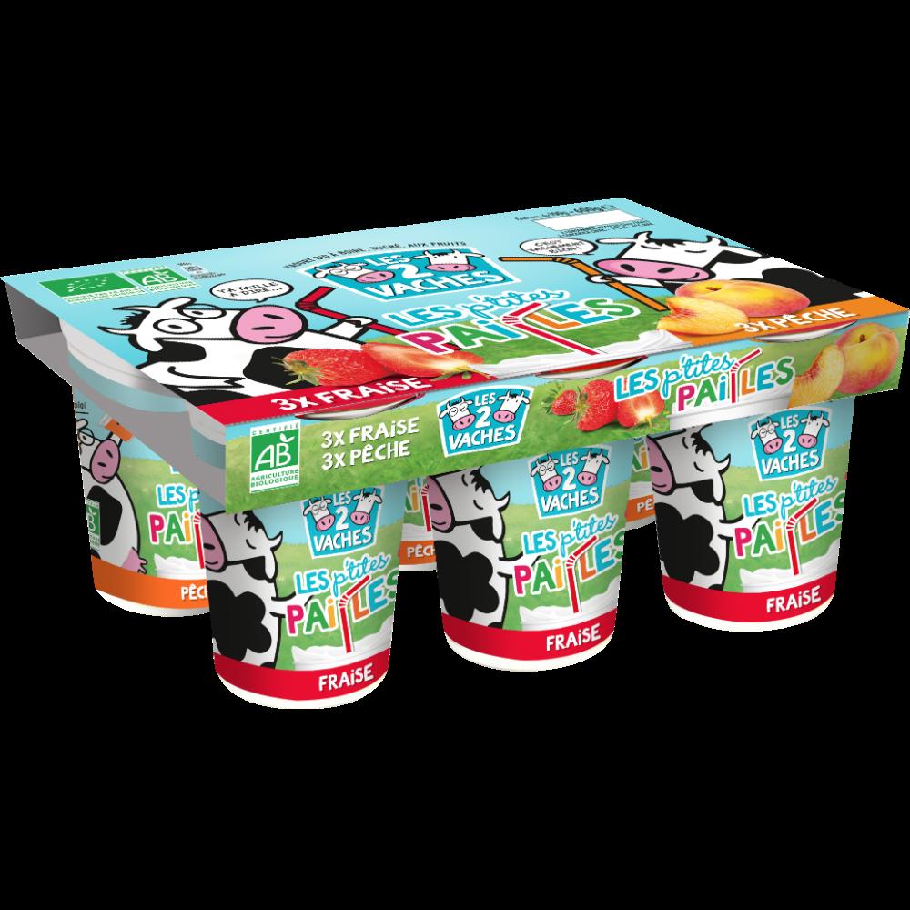Yaourt à boire sucré pêche et fraise BIO, Les 2 vaches (6 x 100 g)