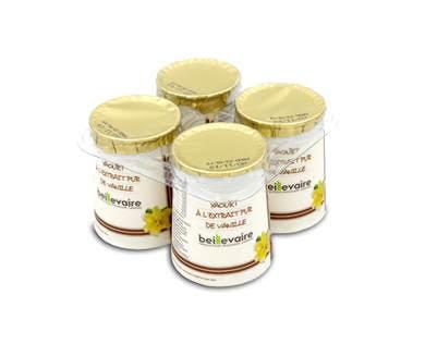 Yaourt à l'extrait pur de vanille, Beillevaire (4 x 125 g)