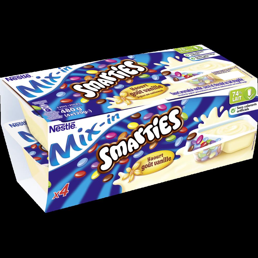 Yaourt sucré à la vanille avec dragées Smarties, Smarties (4 x 120 g)