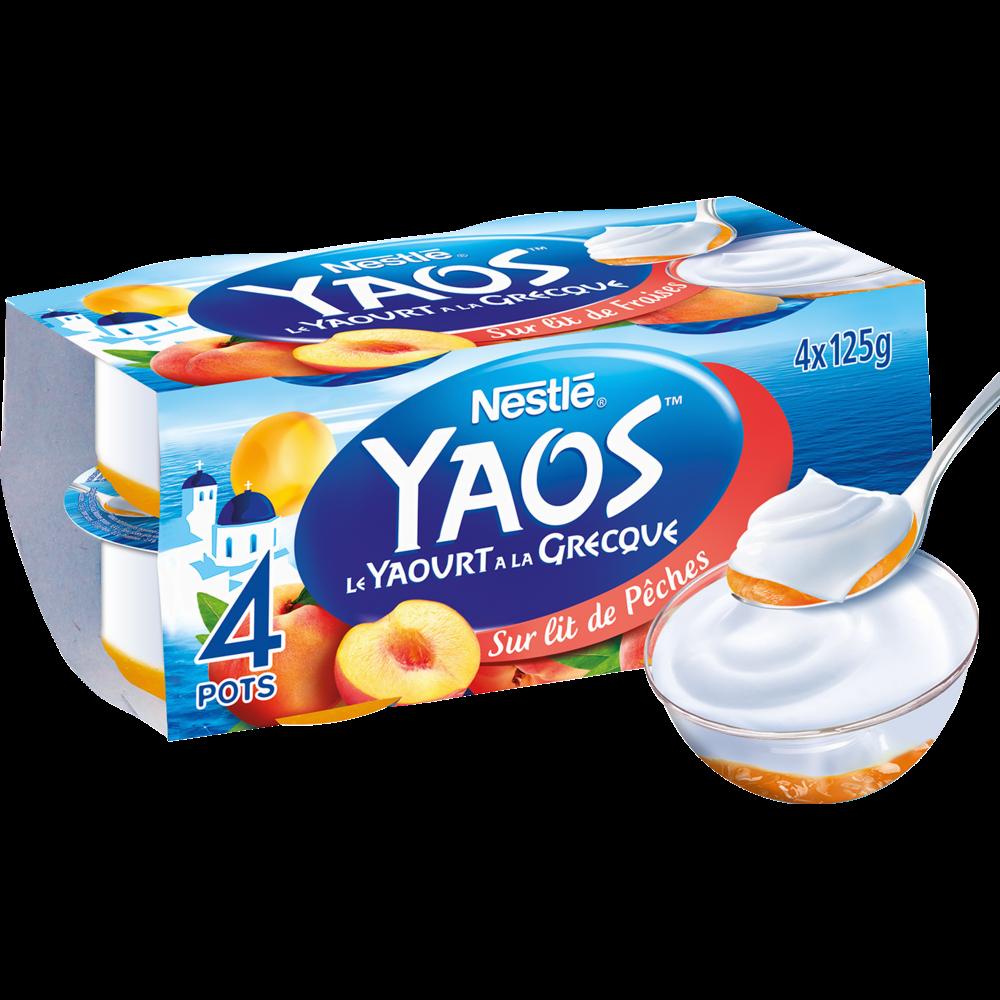 Yaourt à la grecque sur lit de pêches Yaos, Nestlé (4 x 125 g)