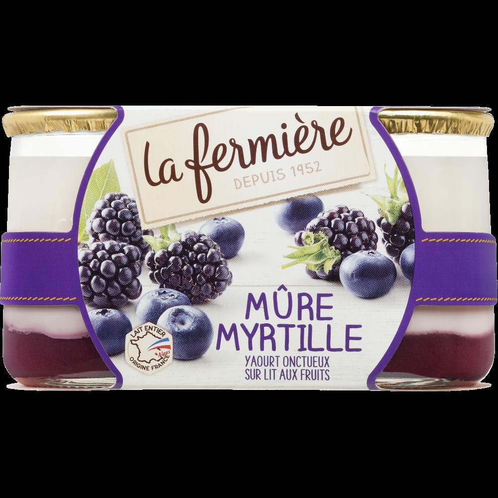 Yaourt brassé sucré aromatisé mûre myrtille, La Fermière (2 x 160 g)