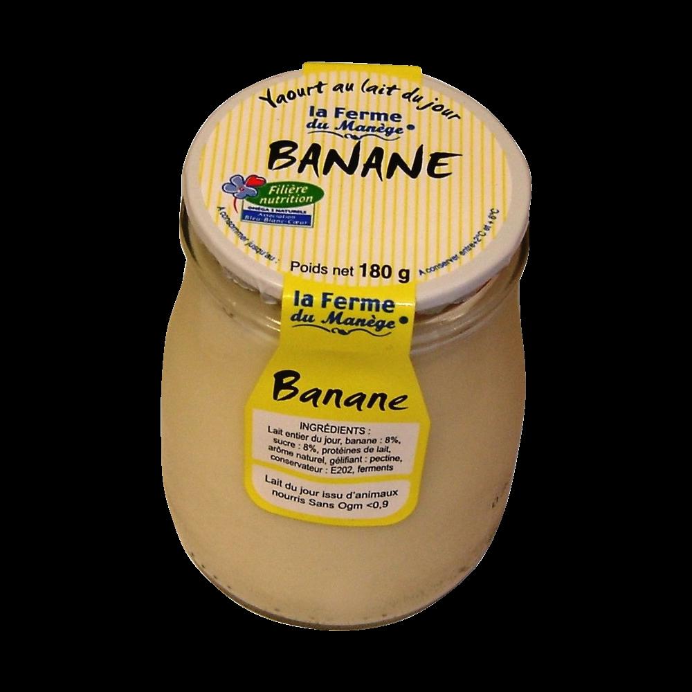 Yaourt entier au lait du jour banane, La Ferme du Manège (180 g)