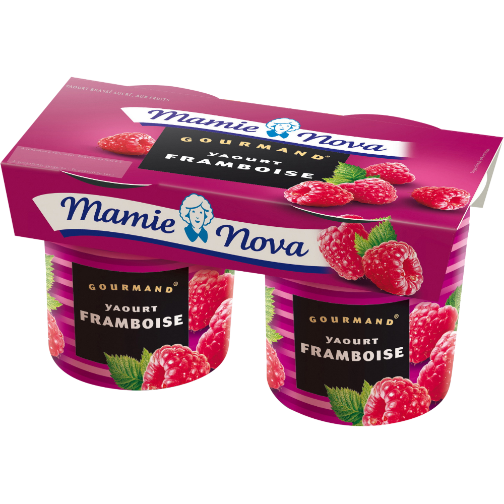 Yaourt Gourmand aux framboises, Mamie Nova (2 x 150 g)