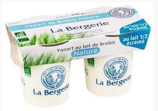 Yaourt nature demi écrémé BIO au lait de brebis, La Bergerie (2 x 125 g)