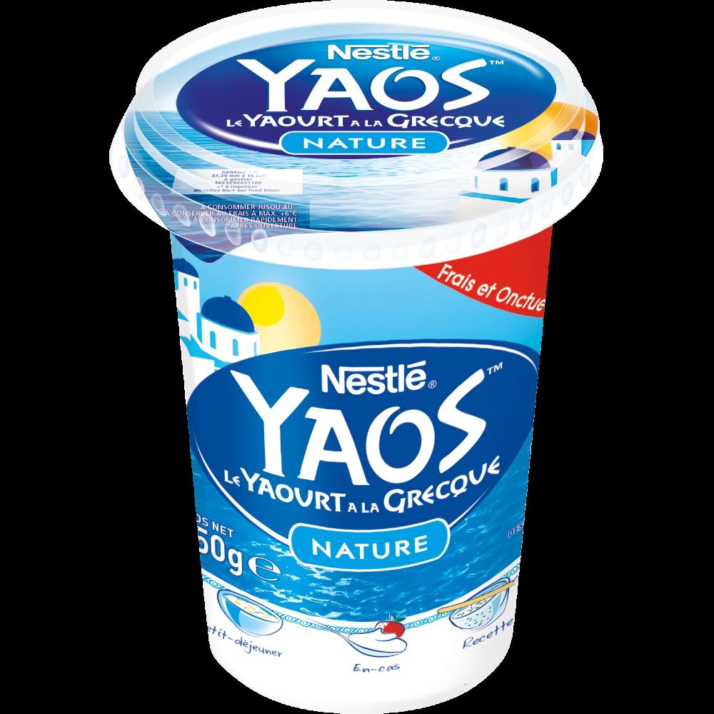 Yaourt nature à la grecque Yaos, Nestlé (450 g)