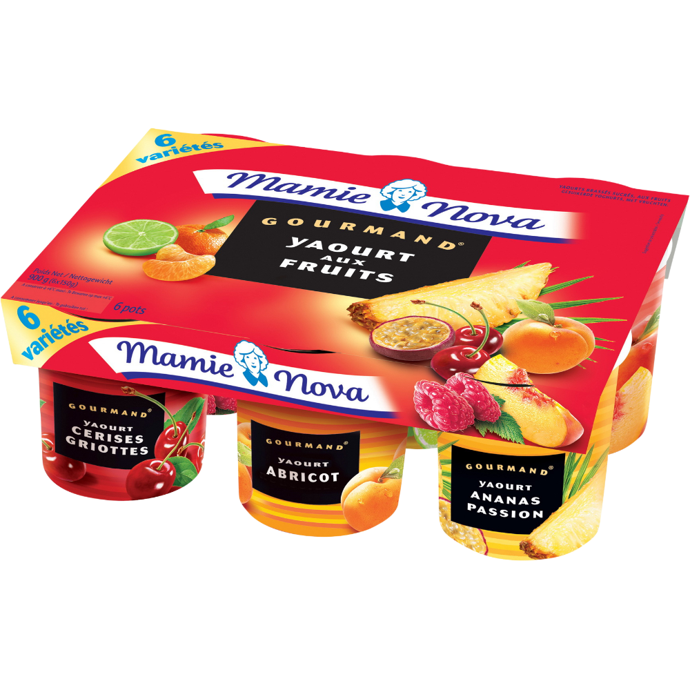Yaourts Gourmands aux fruits panachés, Mamie Nova (6 x 150 g)